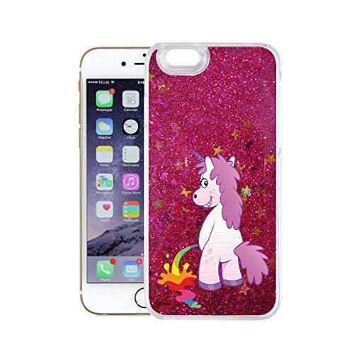 finoo | iPhone 6 / 6S Flüssige Liquid Pinke Glitzer Bling Bling Handy-Hülle | Rundum Silikon Schutz-hülle + Muster | Weicher TPU Bumper Case Cover | Einhorn Katze Einhorn pinkelt