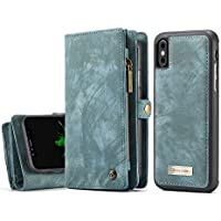 [3 en 1/ Desmontable] Funda para iPhone X, iPhone XS, Cuero