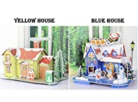 SWYIVY Christmas Santa Claus DIY Cartoon 3D Puzzle House Model Toy Yellow And Blue House