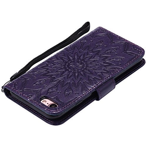 iPhone 8 Plus 5.5 Zoll Hülle Leder für iPhone 7 Plus,iPhone 8 Plus Hülle Rosa,iPhone 7 Plus Wallet Handytasche Blumen Hülle,iPhone 8 Plus Flip Cover Leder Etui Lederhülle Case,iPhone 7 Plus Hülle für  B Sunflower 7