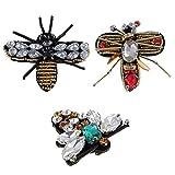 Gazechimp 2er Set Biene DIY Aufnäher Aufbuegler Kleidung Patch Strass Sticker Applikation Applique - Farbe 3