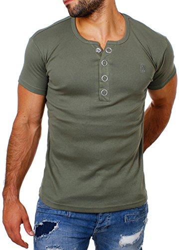 Young & Rich Herren Uni feinripp T-Shirt mit Knopfleiste & tiefem Ausschnitt deep V-Neck einfarbig big buttons große Knöpfe 1872, Grösse:L;Farbe:Militär-Grün (Herren Baumwolle T-shirts V-neck Unterhemden)