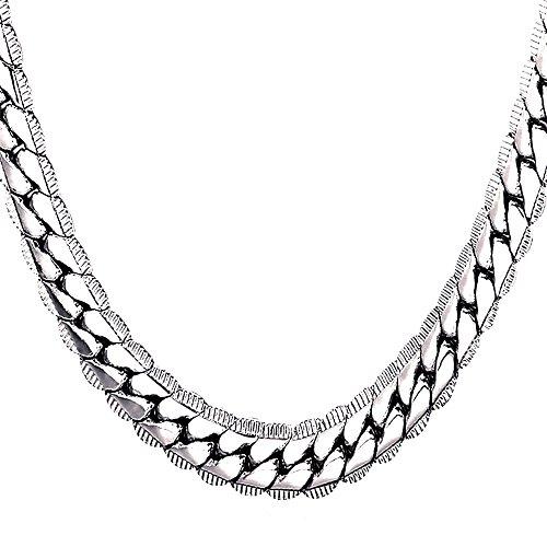 U7 Halskette für Männer Jungen 9 mm breit Rundpanzerkette - Mesh Englische Collier Weißgold überzogen Gliederkette Modeschmuck 61cm lang, Silber