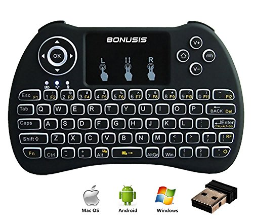 os Air Mouse 2.4GHz LED-beleuchtete Mini-Wireless-Tastatur mit Fernbedienung Touchpad-Maus H9 für HTPC XBOX360 Android TV-Box MXQ MXPRO M8S iPad Mac Linux Windows OS-Schwarz (Xbox 360-konsole Verwendet)