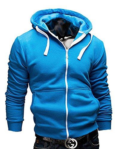 en Herbst Lange Ärmel Beiläufig Reißverschluss Hoodies Modisch Jacke Mantel Blau DE 52 ()