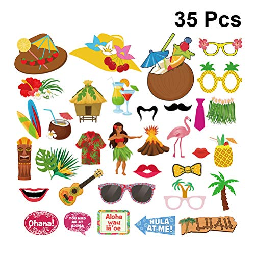 Amosfun Tropische Hawaii Thema Sommer Strand Luau Party Supplies Foto Requisiten Photo Booth Flamingo Gras Röcke Dekoration 35 stücke