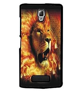 PrintDhaba Lion Face D-5426 Back Case Cover for LENOVO A2010 (Multi-Coloured)