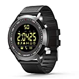 Bluetooth Waterproof Smart Watch Fitness Tracker Wrist Watches for Men Women Android and IOS Sports watches (silicon black)