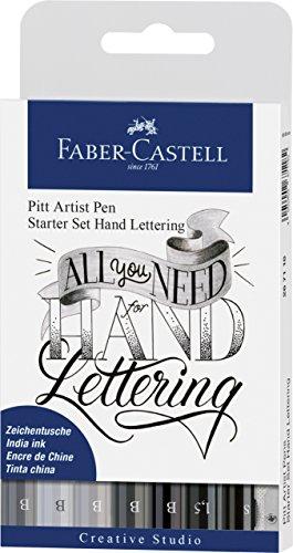 Faber-Castell 267118 - Tuschestift Pitt Artist Pen Lettering Starter Set, 8er Etui