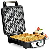 Andrew James Belgian Waffle Maker, Non-Stick 4 Waffle Making Machine, 1100 Watts, Adjustable Temperature, Makes up to 4 Square Waffles