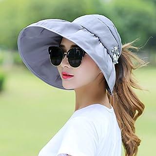 H-M-STUDIO Summer Sunshade capanti-Ultraviolet Sun capbrim Sunscreen capfoldable air-top Cool Cap,B,Pearl Flower