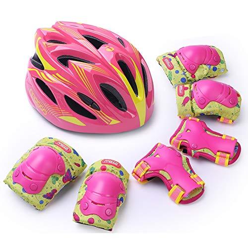 LIQICAI Kinder Schutzausrüstung Handgelenkschützer Knieschützer Ellbogenschützer Handgelenkpolster Schonersets Knieschoner Für Skateboard Radfahren Roller Skating Skifahren (Color : Pink, Size : M) -