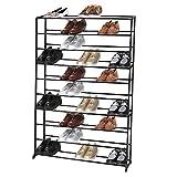Homdox Metall Schuhregal Schuhschrank mit 10 Ablagen für bis zu 50 Paar Schuhe, ca L92 x W17 x H138cm (10 Schichten, Schwarz)