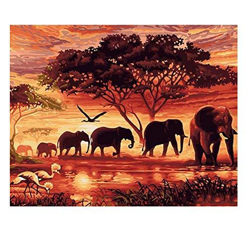 WHXJ Diamante Bricolaje Bordado Elefantes Diamante Pintura Cristal 5D Punto De Cruz...