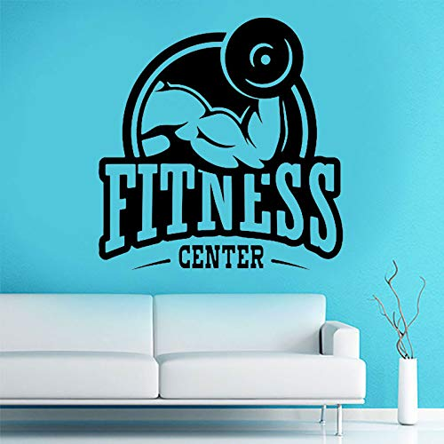 HNXDP Fitness Center Wandtattoo Gym Vinyl Aufkleber Sport Home Removable Decor Schwarz 57X58 CM -