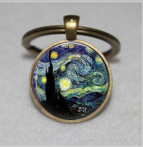 Starry Night Schlüsselanhänger, Starry Night, Vincent van Gogh  Einzigartige Schlüsselanhänger Key Ring Geschenk  Everyday Schlüsselanhänger Key kette