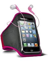 Fone-Case HTC One M7 verstellbaren Sport Fitness Jogging Arm Band Hülle & 3,5 mm In-Ear-Ohrhörer Basis Kopfhörer (Hot Pink)