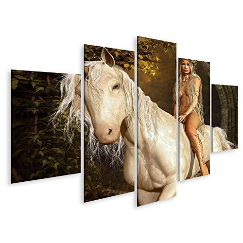 islandburner, Bild auf Leinwand EIN Mädchen, das auf Einem Einhorn im Märchenwald reitet. Wandbild Leinwandbild Kunstdruck Poster 170x80cm - 5 Teile (Reitet Mädchen Einhorn)