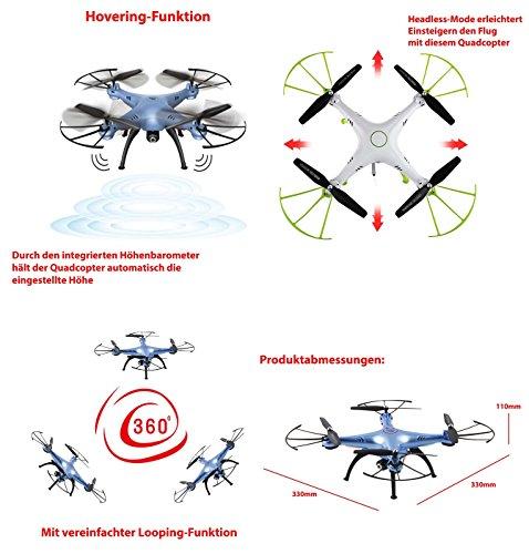 X5HC PRO - 4.5-Kanal Drohne Quadrocopter mit HD Kamera, Höhenbarometer, Headless, opt. WIFI FPV, 2x Akku, Zubehör, Crash-Kit - 3