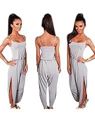 Sannysis Monos mujer de sin manga de algodón con pantalones, color gris (M)