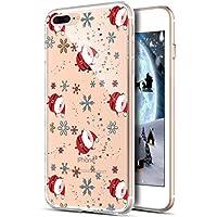 iPhone 8 Plus Hülle,iPhone 7 Plus Hülle,ikasus Durchsichtig mit Xmas Christmas Weihnachten Schneeflocke Klar TPU Silikon Handyhülle Schutzhülle für iPhone 8 Plus/7 Plus,Weihnachtsmann Schneeflocke