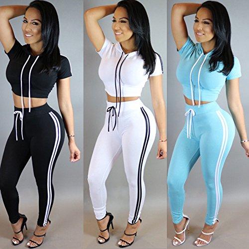 ALAIX Femme De plein air Simple Suit Sport Hooded Hauts Pantalons Bleu ciel