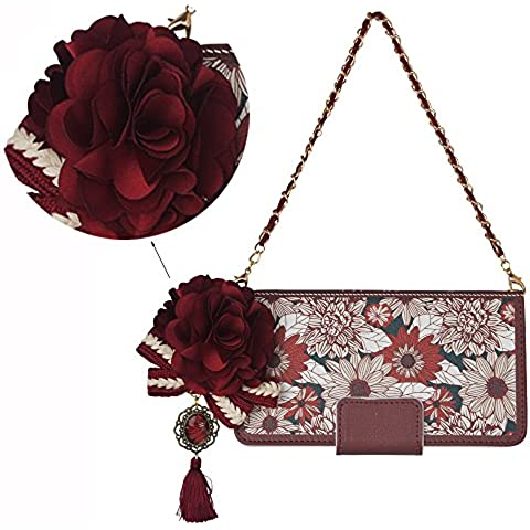 Spritech (TM) Elegance–Funda de Flores teléfono móvil, cartera de piel sintética Teléfono móvil Accesorios de auriculares enchufe a prueba de polvo y ranura de la tarjeta con diseño de rosa, color rojo, piel sintética, rojo, Samsung Galaxy Note 5