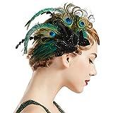 Coucoland 1920s Haarclips Pfau Feder Stirnband Damen 20er Jahre Stil Elegant Haarspange Gatsby Kostüm Flapper Charleston Haar Accessoires (Pfau Feder)