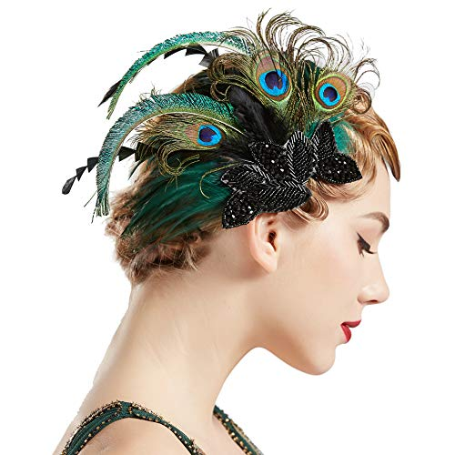 Coucoland 1920s Haarclips Pfau Feder Stirnband Damen 20er Jahre Stil Elegant Haarspange Gatsby Kostüm Flapper Charleston Haar Accessoires (Pfau (20 Vintage Kostüm)