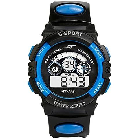 orologio digitale, FEITONG impermeabile mens quarzo led allarme data sport polso orologio bambino (Blu)