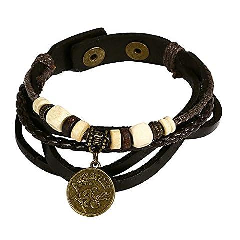 Adisaer Edelstahl Armbänder Herren Armreifen Charms Armband Schwarz Gold Horoscope Zodiac Perlen Charm Einstellbare (Zodiac Tasche)