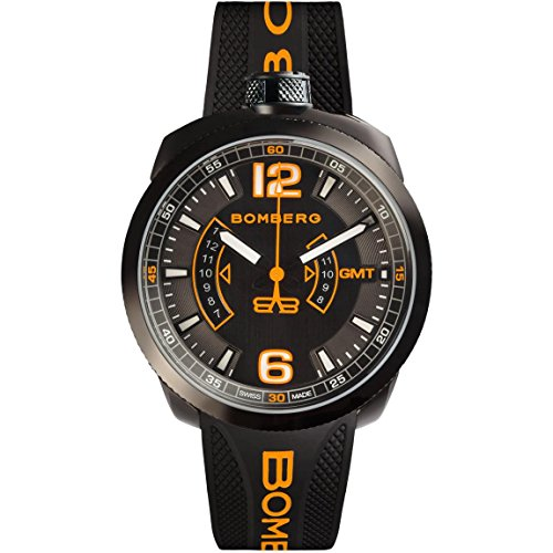 BOMBERG MEN'S BOLT 68 45MM SILICONE BAND SWISS QUARTZ WATCH 45GMTPBA.026.3