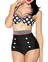 Y&L Las Mujeres De La Vendimia Push Up Bikini Retro Rockabilly Cintura Alta Trajes De Baño Ropa De Playa