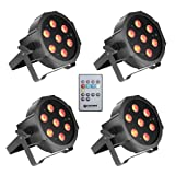 Cameo Light CLPFLAT1TRI3WIRSET1 - Set aus 4 PAR Scheinwerfern 7 x 3 W High Power Tri Colour Flat LED RGB in schwarzem Gehäuse inklusive Infrarot Fernbedienung