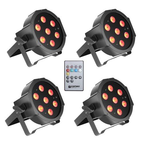 Cameo Light CLPFLAT1TRI3WIRSET1 - Set aus 4 PAR Scheinwerfern 7 x 3 W High Power Tri Colour Flat LED RGB in schwarzem Gehäuse inklusive Infrarot Fernbedienung - Rgb Flat Led