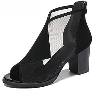 KUKI Rom einzelne Schuhe atmungsaktive Netz sexy Fischkopf High Heel weibliche Sandalen  1  US5.5 / EU35 / UK3.5...