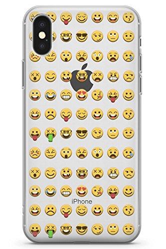 Case Warehouse iPhone X Klar Emoji Muster Schutz Gummi Handyhülle TPU Bumper Emoticon Emojis Niedlich Komisch Tastatur - Iphone-tastatur-case