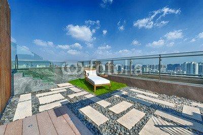 "Leinwand-Bild 110 x 70 cm: ""Roof terrace with jacuzzi and sun lounger"", Bild auf Leinwand"