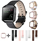 EEEKit Genuine Leather Watch Bands Strap w/Steel Frame for Fitbit Blaze Tracker Smart Watch (Black)