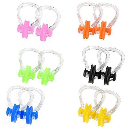 Skitic Nasenklemme Schwimmen Nasenklammer für Erwachsene und Kinder Silikon Einheitsgröße Schwimmen Trainingsgeräte 12 Stück