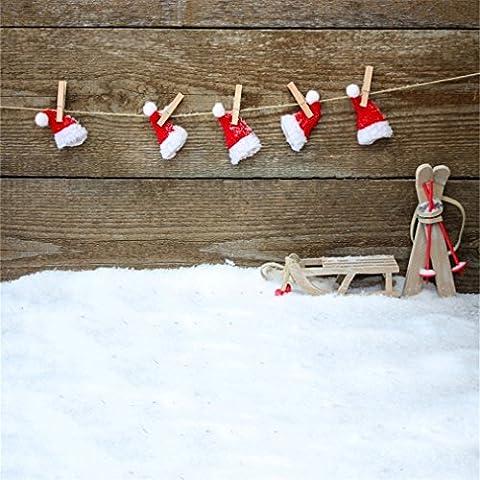 Aaloolaa 1.5x 1.5m Fond de photographie Photo fonds Lovely Chapeau de Père Noël traîneau en bois dur murale Snow sols les amateurs de naissance bébé fille Kid Portrait de Noël Accessoires de scène pour studio d