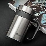 SHIZHESHOP Handle-420ml Bottiglia d'Acqua, Bottiglia a Prova di perdite isolata sottovuoto, Acciaio Inossidabile (Color : Silver)