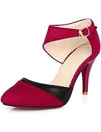 Minetom Mujer Boca Baja Cuero De Nubuck Tacones Altos Zapatos Color Del Encanto De Fina Tacón Alto Sandalias Boda Fiesta