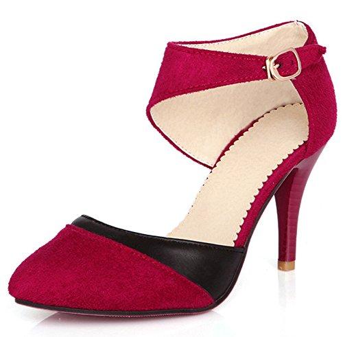 Minetom Mujer Boca Baja Cuero De Nubuck Tacones Altos Zapatos Color Del Encanto De Fina Tacón Alto Sandalias Boda Fiesta Rojo EU 38
