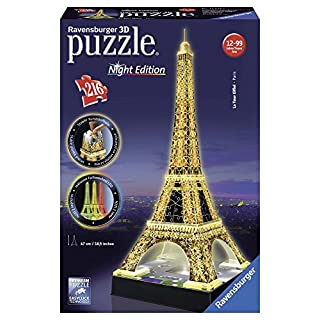 Ravensburger 125791 Eiffelturm bei Nacht Puzzle 3D-Puzzle Bauwerk Night Edition, 216 Teile