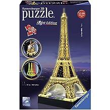 Ravensburger 125791 - Eiffelturm bei Nacht Puzzle 3D-Puzzle Bauwerk Night Edition, 216 Teile