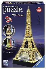 Idea Regalo - Ravensburger- Tour Torre Eiffel Puzzle 3D con LED, Edizione Speciale Notte, 216 Pezzi, Multicolore, 12579