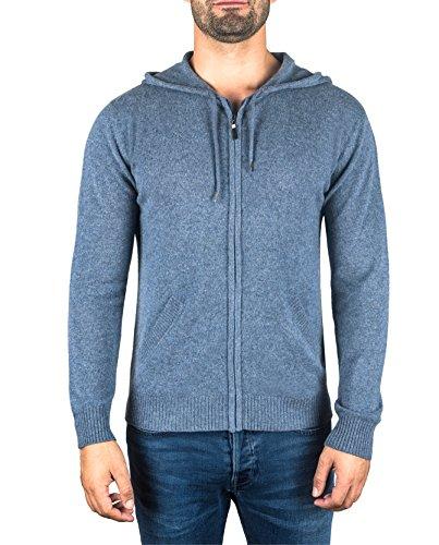 Cashmere Denim Pullover (CASH-MERE.CH 100% Kaschmir Herren Kapuzenpullover | Hoodie mit Reißverschluss (Blau/Jeans, XL))