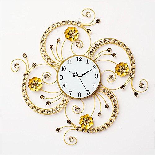 VariousWallClock Wall Clocks Wanduhr Uhren Wecker Uhr Haushalt Pendeluhr Eisen Blume Quarzuhr Wohnzimmer europäischen Stil Dekoration stumm Uhr Kunstwand Diagramm 9 Zoll - Toskana-altes Eisen