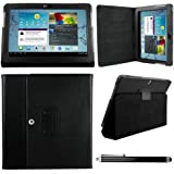 Samsung Galaxy TAB 2 10.1 P5100 - (Black) Leather Case Cover and Flip Stand Typing Case Wallet Plus Free iZKA® Gift: ProPen Stylus Pen (Touch-Screen Pen) iZKA™ One Stop Shop For All Your Accessory Needs